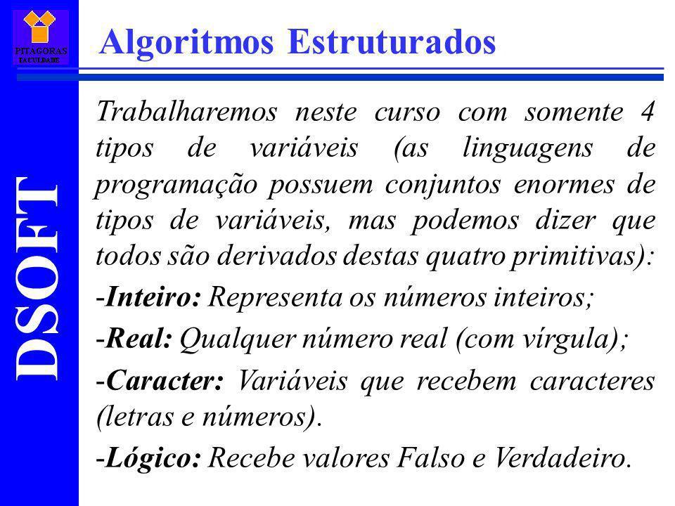 DSOFT Algoritmos Estruturados Trabalharemos neste curso com somente 4 tipos de variáveis (as linguagens de programação possuem conjuntos enormes de ti