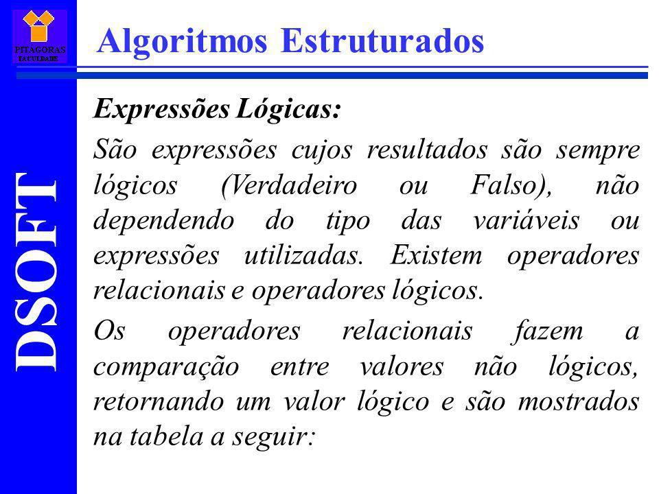 DSOFT Algoritmos Estruturados Expressões Lógicas: São expressões cujos resultados são sempre lógicos (Verdadeiro ou Falso), não dependendo do tipo das