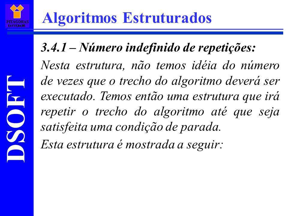 DSOFT Algoritmos Estruturados 3.4.1 – Número indefinido de repetições: Nesta estrutura, não temos idéia do número de vezes que o trecho do algoritmo d