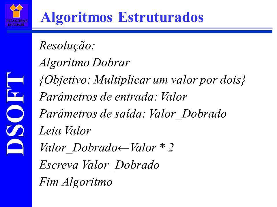 DSOFT Algoritmos Estruturados Resolução: Algoritmo Dobrar {Objetivo: Multiplicar um valor por dois} Parâmetros de entrada: Valor Parâmetros de saída: