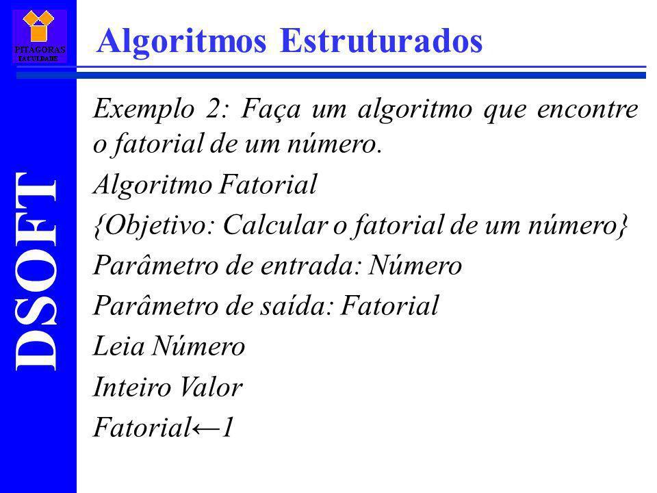 DSOFT Algoritmos Estruturados Exemplo 2: Faça um algoritmo que encontre o fatorial de um número. Algoritmo Fatorial {Objetivo: Calcular o fatorial de