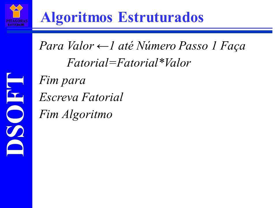 DSOFT Algoritmos Estruturados Para Valor 1 até Número Passo 1 Faça Fatorial=Fatorial*Valor Fim para Escreva Fatorial Fim Algoritmo