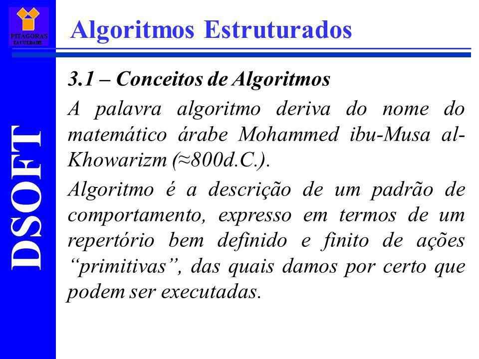 DSOFT Algoritmos Estruturados 3.1 – Conceitos de Algoritmos A palavra algoritmo deriva do nome do matemático árabe Mohammed ibu-Musa al- Khowarizm (80