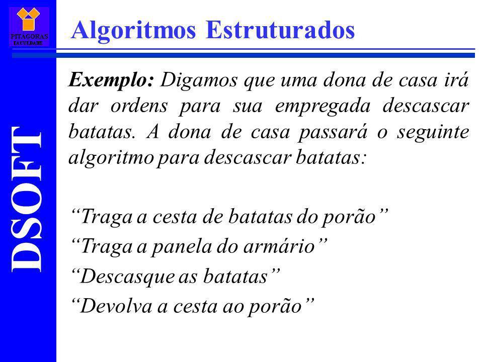 DSOFT Algoritmos Estruturados Exemplo: Digamos que uma dona de casa irá dar ordens para sua empregada descascar batatas. A dona de casa passará o segu
