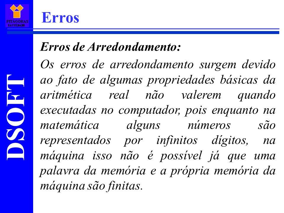 DSOFT Erros Erros de Arredondamento: Os erros de arredondamento surgem devido ao fato de algumas propriedades básicas da aritmética real não valerem q