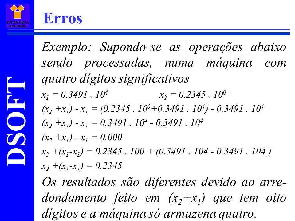 DSOFT Erros Exemplo: Supondo-se as operações abaixo sendo processadas, numa máquina com quatro dígitos significativos x 1 = 0.3491. 10 4 x 2 = 0.2345.