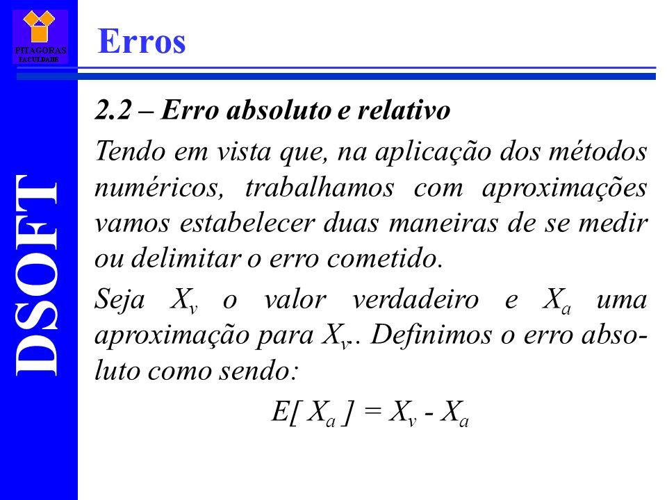 DSOFT Erros 2.2 – Erro absoluto e relativo Tendo em vista que, na aplicação dos métodos numéricos, trabalhamos com aproximações vamos estabelecer duas