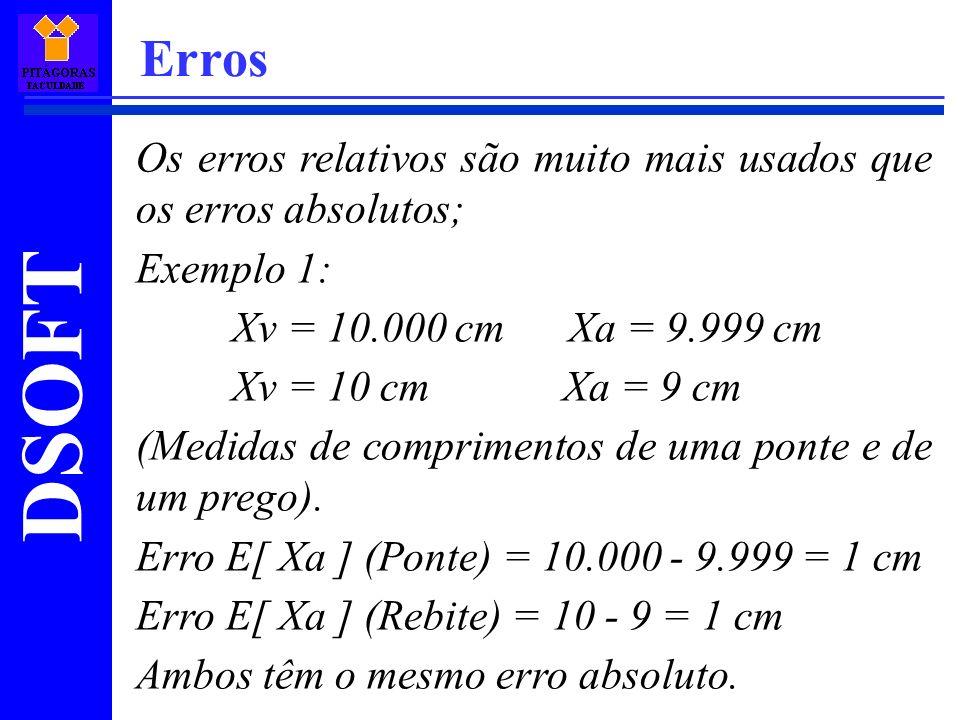 DSOFT Erros Os erros relativos são muito mais usados que os erros absolutos; Exemplo 1: Xv = 10.000 cm Xa = 9.999 cm Xv = 10 cm Xa = 9 cm (Medidas de