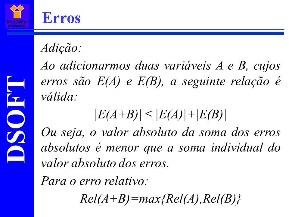 DSOFT Erros Adição: Ao adicionarmos duas variáveis A e B, cujos erros são E(A) e E(B), a seguinte relação é válida: |E(A+B)| |E(A)|+|E(B)| Ou seja, o