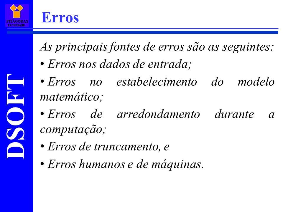 DSOFT Erros As principais fontes de erros são as seguintes: Erros nos dados de entrada; Erros no estabelecimento do modelo matemático; Erros de arredo