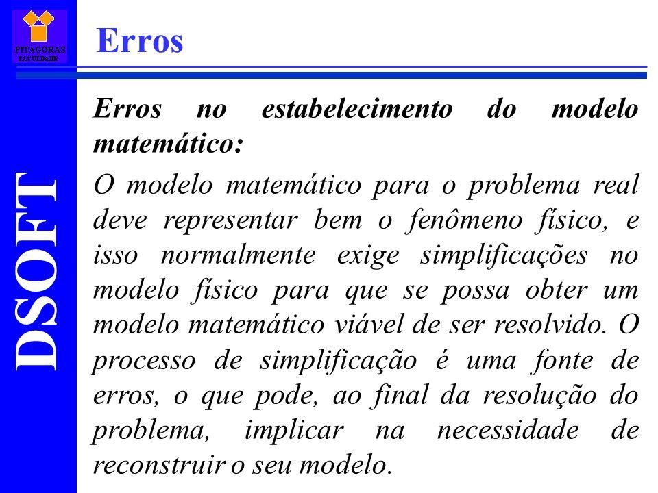 DSOFT Erros Erros no estabelecimento do modelo matemático: O modelo matemático para o problema real deve representar bem o fenômeno físico, e isso nor