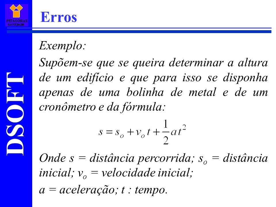 DSOFT Erros Exemplo: Supõem-se que se queira determinar a altura de um edifício e que para isso se disponha apenas de uma bolinha de metal e de um cro
