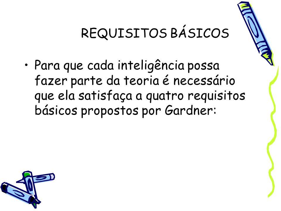 REQUISITOS BÁSICOS Para que cada inteligência possa fazer parte da teoria é necessário que ela satisfaça a quatro requisitos básicos propostos por Gar