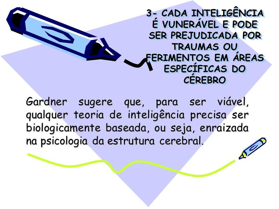 3- CADA INTELIGÊNCIA É VUNERÁVEL E PODE SER PREJUDICADA POR TRAUMAS OU FERIMENTOS EM ÁREAS ESPECÍFICAS DO CÉREBRO Gardner sugere que, para ser viável,