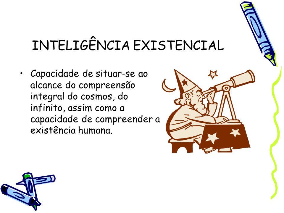 INTELIGÊNCIA EXISTENCIAL Capacidade de situar-se ao alcance do compreensão integral do cosmos, do infinito, assim como a capacidade de compreender a e