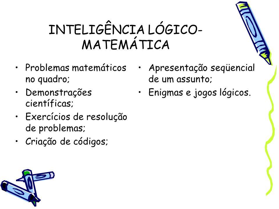 INTELIGÊNCIA LÓGICO- MATEMÁTICA Problemas matemáticos no quadro; Demonstrações científicas; Exercícios de resolução de problemas; Criação de códigos;