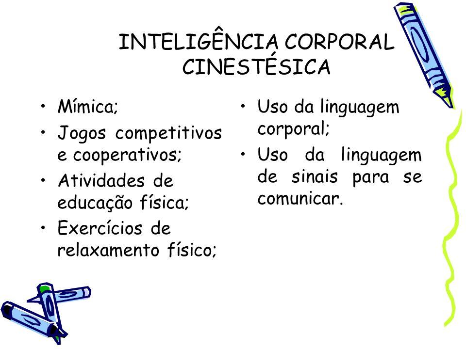 INTELIGÊNCIA CORPORAL CINESTÉSICA Mímica; Jogos competitivos e cooperativos; Atividades de educação física; Exercícios de relaxamento físico; Uso da l