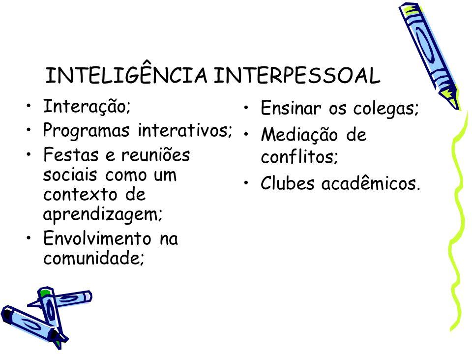 INTELIGÊNCIA INTERPESSOAL Interação; Programas interativos; Festas e reuniões sociais como um contexto de aprendizagem; Envolvimento na comunidade; En