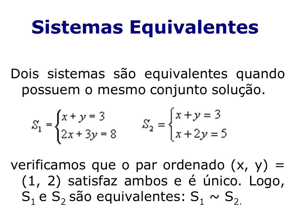 Sistemas Equivalentes Dois sistemas são equivalentes quando possuem o mesmo conjunto solução. verificamos que o par ordenado (x, y) = (1, 2) satisfaz