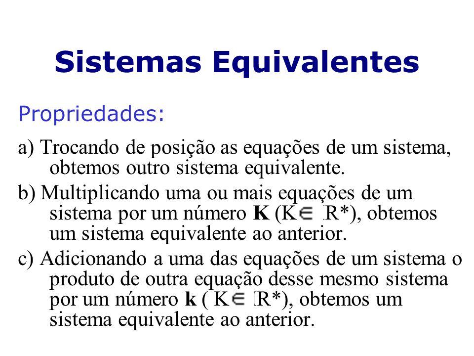 Sistemas Equivalentes Propriedades: a) Trocando de posição as equações de um sistema, obtemos outro sistema equivalente. b) Multiplicando uma ou mais