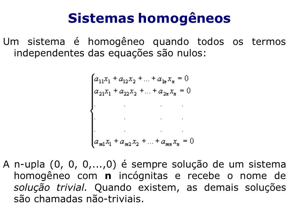 Um sistema é homogêneo quando todos os termos independentes das equações são nulos: A n-upla (0, 0, 0,...,0) é sempre solução de um sistema homogêneo