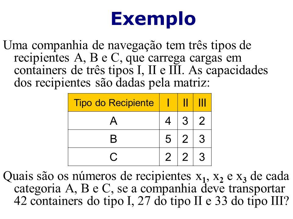 Uma companhia de navegação tem três tipos de recipientes A, B e C, que carrega cargas em containers de três tipos I, II e III. As capacidades dos reci