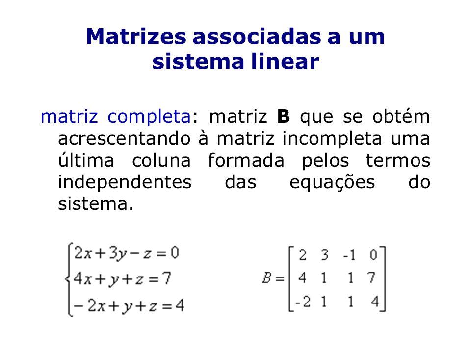 Classificação de um sistema quanto ao número de soluções SPD: sistema possível e determinado (solução única) SPI: sistema possível e indeterminado (infinitas soluções) SI: sistema impossível (não tem solução)