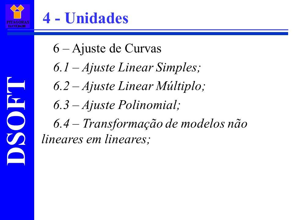 DSOFT 6 – Ajuste de Curvas 6.1 – Ajuste Linear Simples; 6.2 – Ajuste Linear Múltiplo; 6.3 – Ajuste Polinomial; 6.4 – Transformação de modelos não line