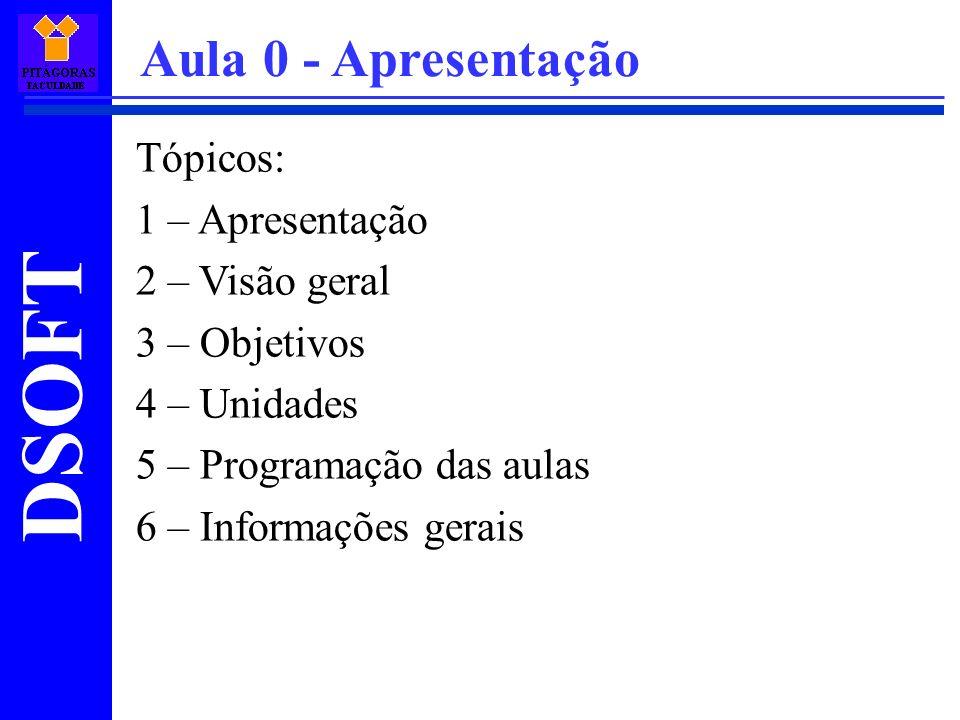 DSOFT Tópicos: 1 – Apresentação 2 – Visão geral 3 – Objetivos 4 – Unidades 5 – Programação das aulas 6 – Informações gerais Aula 0 - Apresentação