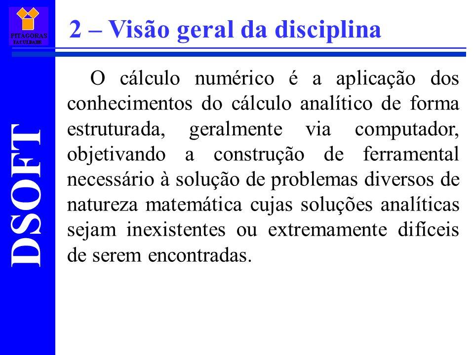DSOFT O cálculo numérico é a aplicação dos conhecimentos do cálculo analítico de forma estruturada, geralmente via computador, objetivando a construçã