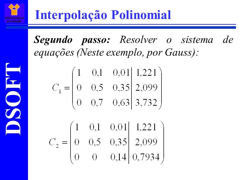 DSOFT Interpolação Polinomial Segundo passo: Resolver o sistema de equações (Neste exemplo, por Gauss):
