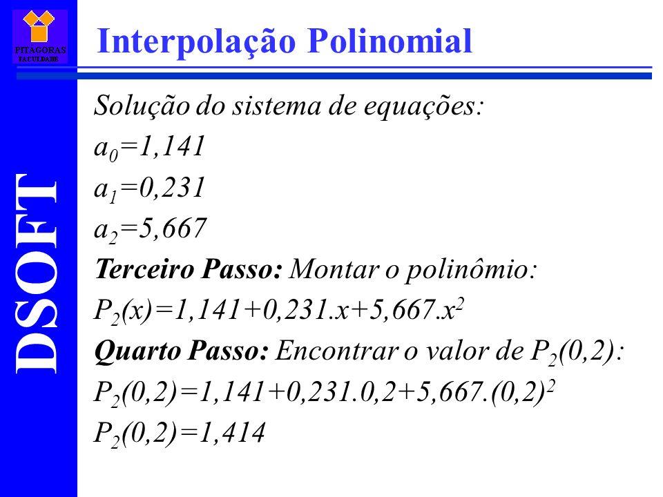 DSOFT Interpolação Polinomial Solução do sistema de equações: a 0 =1,141 a 1 =0,231 a 2 =5,667 Terceiro Passo: Montar o polinômio: P 2 (x)=1,141+0,231