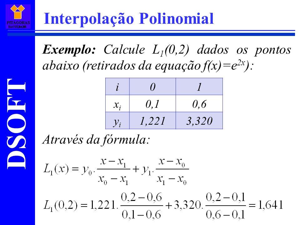 DSOFT Interpolação Polinomial Exemplo: Calcule L 1 (0,2) dados os pontos abaixo (retirados da equação f(x)=e 2x ): Através da fórmula: i01 xixi 0,10,6