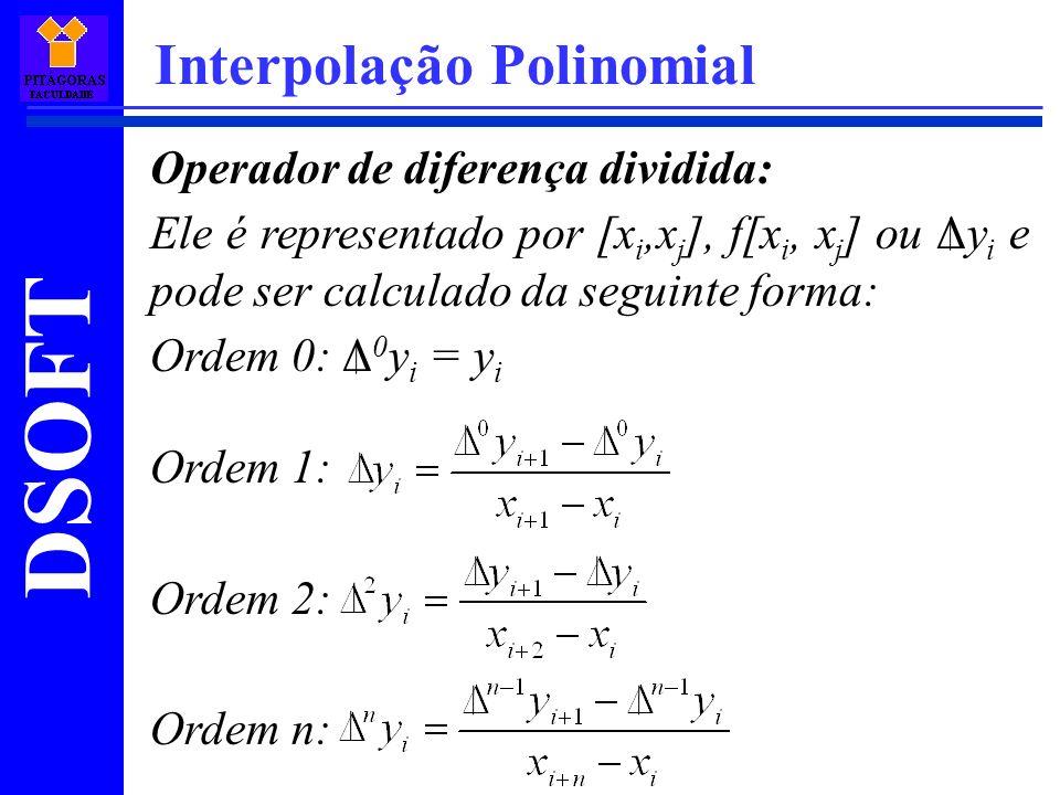 DSOFT Interpolação Polinomial Operador de diferença dividida: Ele é representado por [x i,x j ], f[x i, x j ] ou Δy i e pode ser calculado da seguinte