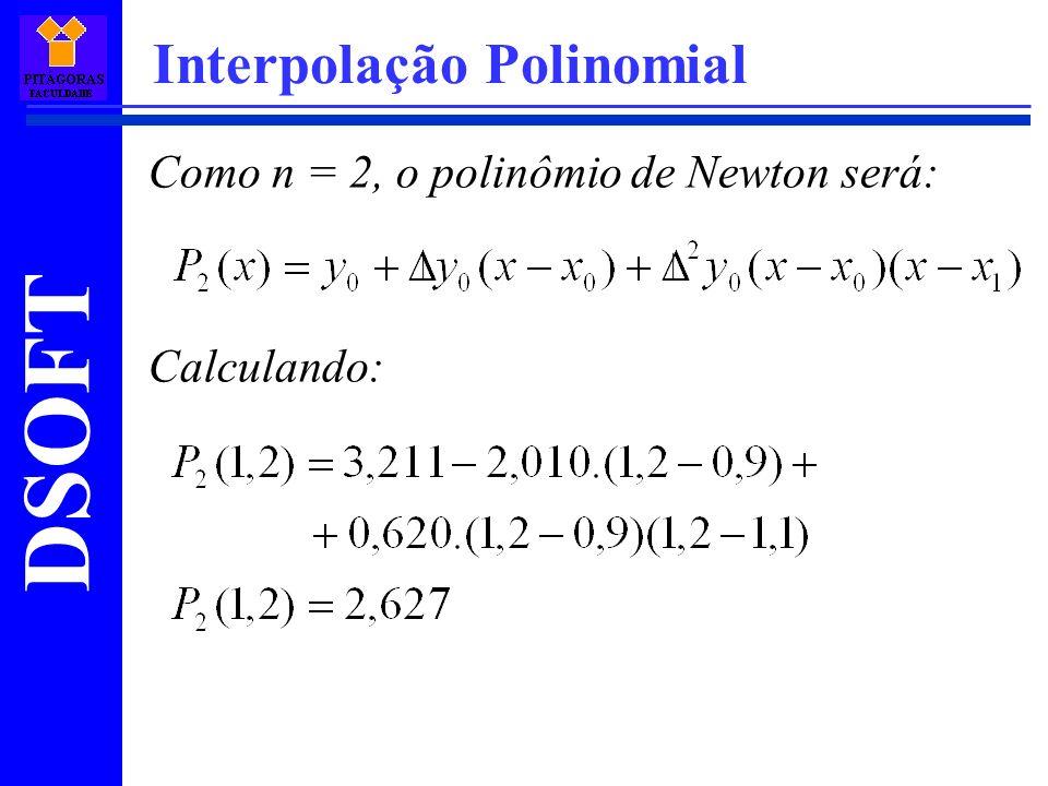DSOFT Interpolação Polinomial Como n = 2, o polinômio de Newton será: Calculando: