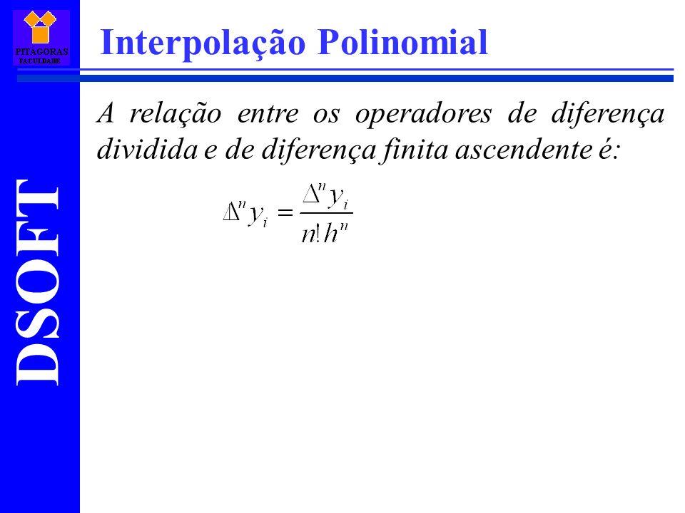 DSOFT Interpolação Polinomial A relação entre os operadores de diferença dividida e de diferença finita ascendente é: