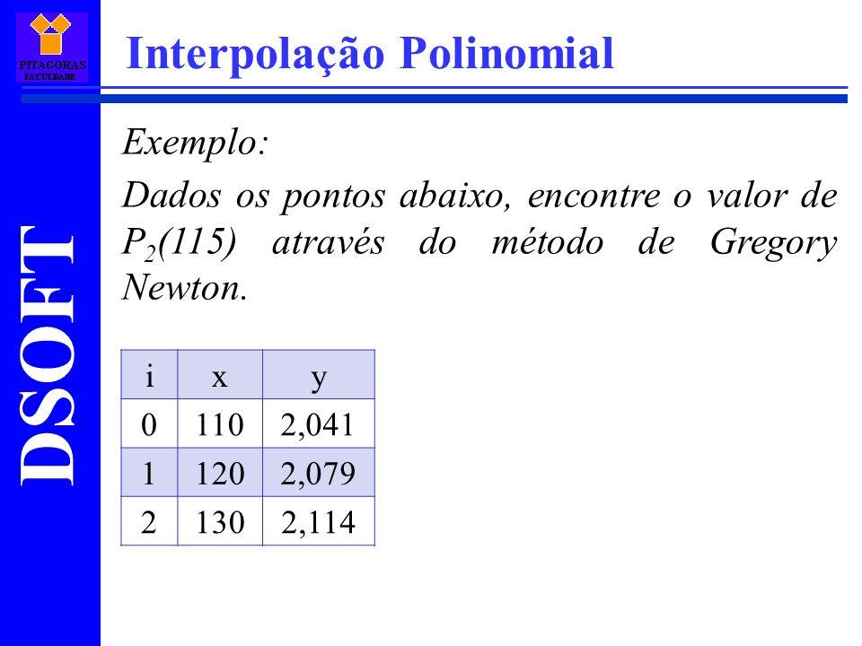 DSOFT Interpolação Polinomial Exemplo: Dados os pontos abaixo, encontre o valor de P 2 (115) através do método de Gregory Newton. ixy 01102,041 11202,
