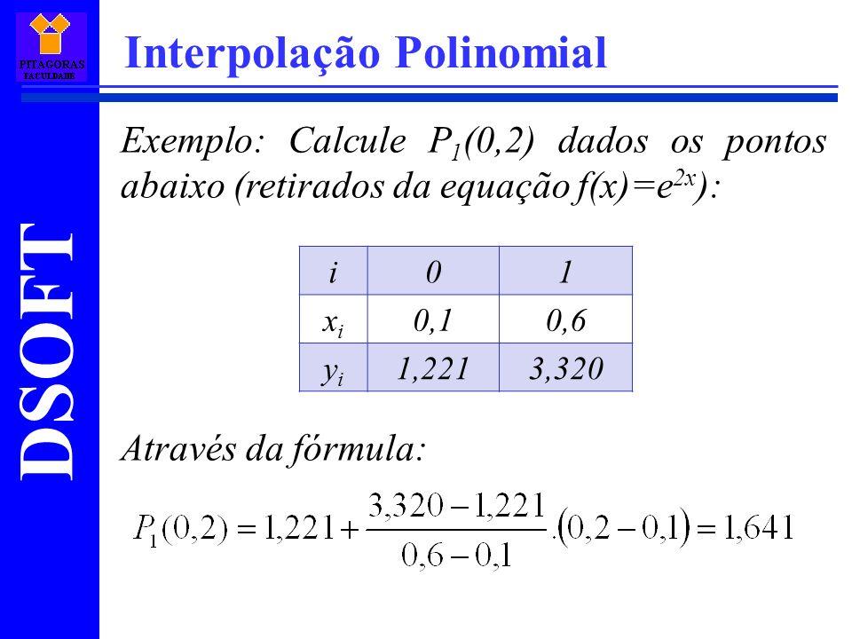 DSOFT Interpolação Polinomial Exemplo: Calcule P 1 (0,2) dados os pontos abaixo (retirados da equação f(x)=e 2x ): Através da fórmula: i01 xixi 0,10,6