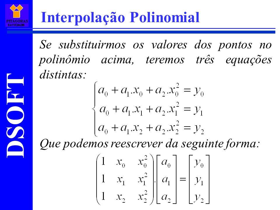 DSOFT Interpolação Polinomial Se substituirmos os valores dos pontos no polinômio acima, teremos três equações distintas: Que podemos reescrever da se