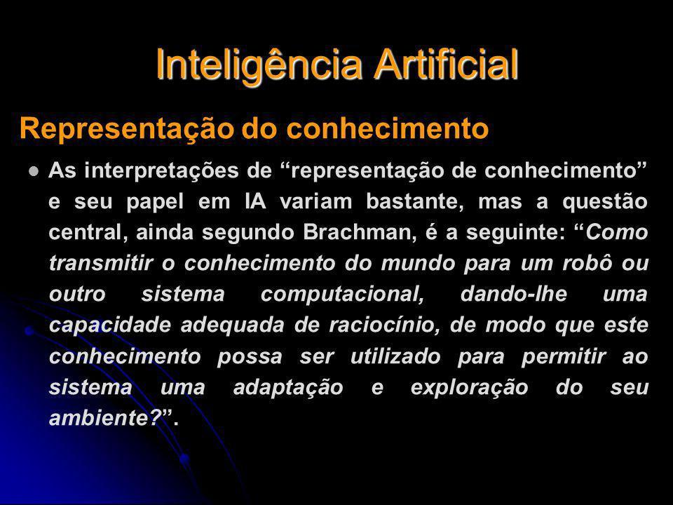 Inteligência Artificial Representação do conhecimento As interpretações de representação de conhecimento e seu papel em IA variam bastante, mas a ques