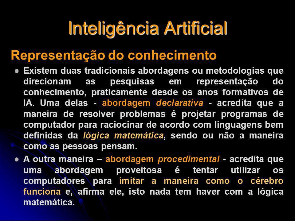 Inteligência Artificial Representação do conhecimento Existem duas tradicionais abordagens ou metodologias que direcionam as pesquisas em representaçã