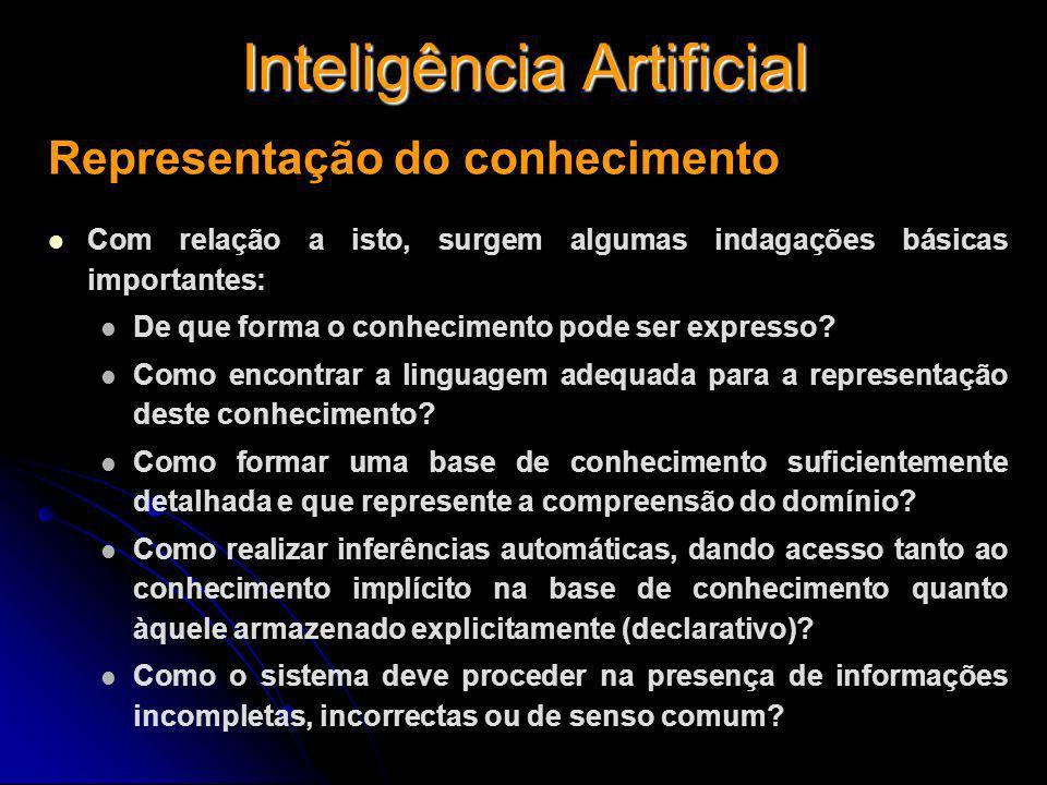Inteligência Artificial Representação do conhecimento Com relação a isto, surgem algumas indagações básicas importantes: De que forma o conhecimento p