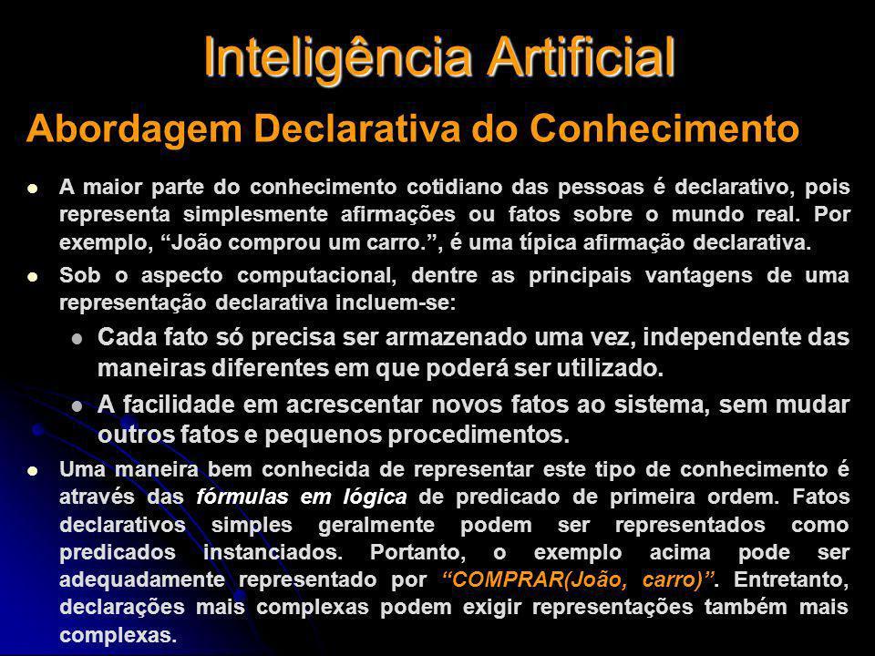 Inteligência Artificial Abordagem Declarativa do Conhecimento A maior parte do conhecimento cotidiano das pessoas é declarativo, pois representa simpl