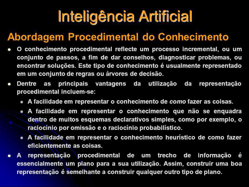 Inteligência Artificial Abordagem Procedimental do Conhecimento O conhecimento procedimental reflecte um processo incremental, ou um conjunto de passo