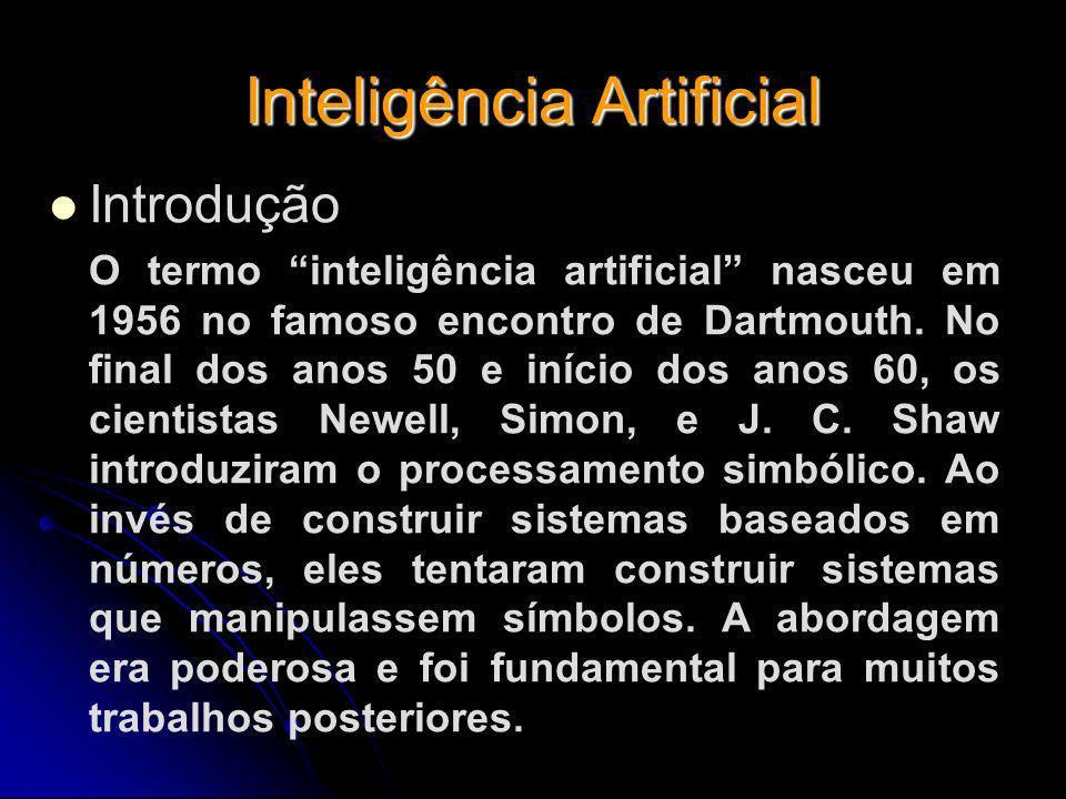 Inteligência Artificial Introdução O termo inteligência artificial nasceu em 1956 no famoso encontro de Dartmouth. No final dos anos 50 e início dos a