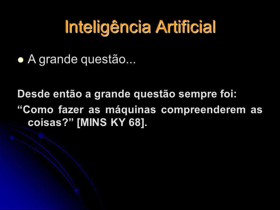 Inteligência Artificial A grande questão... Desde então a grande questão sempre foi: Como fazer as máquinas compreenderem as coisas? [MINS KY 68].