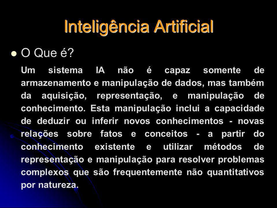 Inteligência Artificial O Que é? Um sistema IA não é capaz somente de armazenamento e manipulação de dados, mas também da aquisição, representação, e