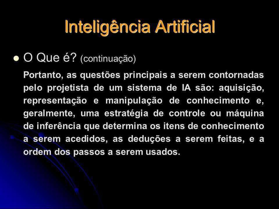 Inteligência Artificial O Que é? (continuação) Portanto, as questões principais a serem contornadas pelo projetista de um sistema de IA são: aquisição