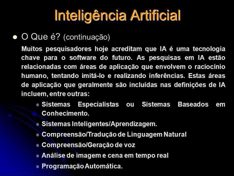 Inteligência Artificial O Que é? (continuação) Muitos pesquisadores hoje acreditam que IA é uma tecnologia chave para o software do futuro. As pesquis