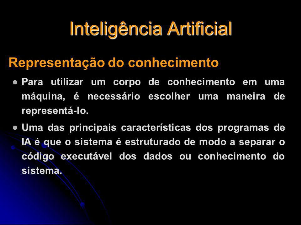 Inteligência Artificial Representação do conhecimento Para utilizar um corpo de conhecimento em uma máquina, é necessário escolher uma maneira de repr
